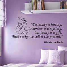 Winnie the Pooh Yesterday Is History Wall Quote Vinyl Wall Art Decal Sticker