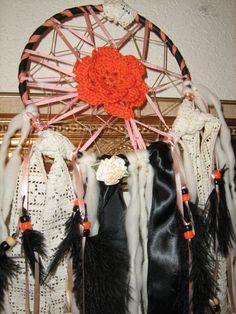 Pumpkin Flower Crochet Dreamcatcher handcrafted by DreamCatcherMan