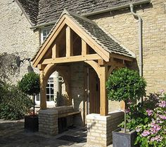 Oak Frame Yorkshire - Oak By Design are dedicated to creating a customer experience and exceeding your expectations. Specialists in Oak Framed Buildings Porch Oak, Front Door Porch, Front Porch Design, Front Door Entrance, Porch Bench, Porch Designs, Entrance Ideas, Front Porches, Front Doors