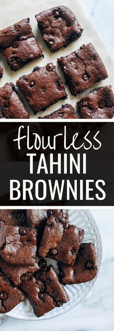 Flourless Vegan Tahini Brownies- made in one bowl with just 10 ingredients, these chewy brownies are super rich and fudgy. You would never know they're grain-free, nut-free, egg-free and dairy-free! #plantbased