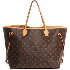LOUIS VUITTON Monogram Neverfull GM ❤ liked on Polyvore featuring bags, handbags, tote bags, purses, bolsas, hand bags, purse tote, louis vuitton handbags, travel tote and brown tote bag
