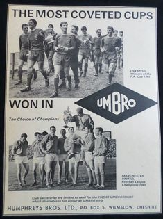 This is an original print advertisement from Product advertised: Umbro Sportswear Vintage Sport, Vintage Ads, Old Ads, Manchester United, Liverpool, Champion, Cups, Advertising, The Unit