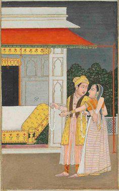 Bildschirmfoto: AN ILLUSTRATION TO A RAGAMALA SERIES: BHAIRAVI RAGINI , SIGNED FAQIRULLAH, PROVINCIAL MUGHAL, NORTH INDIA, CIRCA 1750-60  Mughal Miniature Paintings, North India, Ottomans, Indian Art, Art And Architecture, Book Art, Georgia, Oriental, Miniatures