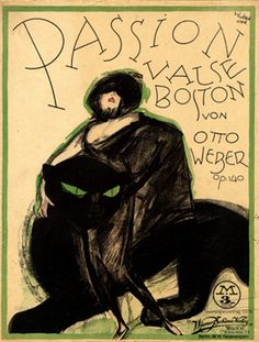 Illustrated Sheet Music by Vertès, 1920s, 'Passion valse Boston'.