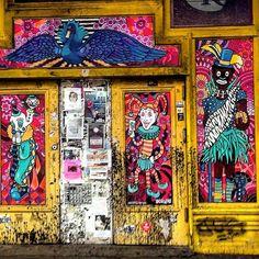 Mardi Gras wall. New Orleans LA 1/6/16 #mardigras #nola #neworleans #art #publicart #carnival #mural #street #streetart #frenchquarter #storefront #la #louisiana #crescentcity #costume #parade #fashion #jester by abgoode