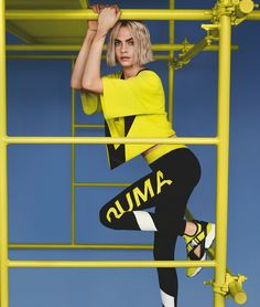 Cara delevingne for puma muse cut-out sneaker 2018 campaign Cara Delevingne Photoshoot, Cara Delevingne Style, Sport Fashion, Fashion Models, Fashion Brand, Women's Fashion, Victoria Secret, Commercial Modeling, Yellow Top
