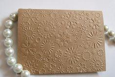 Kraft Snowflake Embossed Note Cards Winter/Holidays/Christmas Cards Set of 25. $27.50, via Etsy.