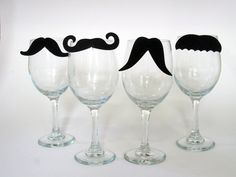 Staches for Your Glasses Mustache Wine Charms (Set of Four to clip on your glass) (Moustache)