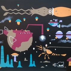 "Martin Gyzmo Lava on Instagram: ""Život pod vodou (3.patro- u dna) pro @tomagero #lifeunderwater #underwater #giantsquid #anglerfish #shrimp #armysubmarine #underthesea…"" Giant Squid, Lava, Underwater, Christmas Time, Shrimp, Kids Rugs, Instagram, Decor, Dekoration"