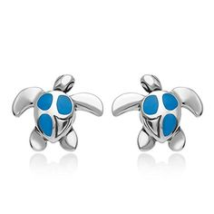 925 Sterling Silver Blue Enamel Inlay Sea Turtle Post Stud Earrings 12 mm Women Jewelry *** Be sure to check out this awesome product.