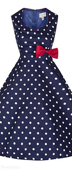 'Leda' Vintage 1950's Polka Dot Swing Dress