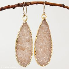 Orange Agate Druzy Gemstone Earrings  Teardrop Earrings  by OhKuol, $72.00