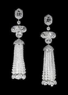 David Morris diamond and pearl earrings