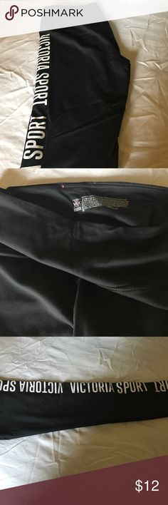 VSX Victoria Sport Let me advise you this have been used and are beat up in inner thigh. But there are no holes and are in good condition. Black tights and I do t amor or have animals . Victoria's Secret Pants Track Pants & Joggers