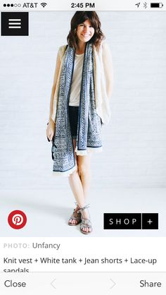 Love the simple draping of the scarf + cardigan + shorts