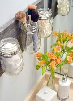 DIY Bathroom Decor Ideas for Teens - Mason Jar Organizer - Best Creative, Cool Bath Decorations and Accessories for Teenagers - Easy, Cheap, Cute and Quick Craft Projects That Are Fun To Make. Easy to Follow Step by Step Tutorials http://diyprojectsforteens.com/diy-bathroom-decor-teens