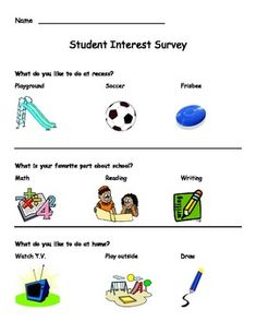 Kindergarten Student Interest Survey