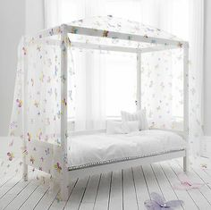 Single Bed Four Poster Canopy, Day Bed with Butterfly Design   eBay £180
