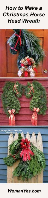 A Horse Head Christmas Wreath is striking and unusual. The perfect gift for the horse-persons in your life & a fabulous addition to your own gate post or front door. Christmas Horses, Cowboy Christmas, Winter Christmas, All Things Christmas, Christmas Holidays, Wreath Crafts, Diy Wreath, Christmas Projects, Holiday Crafts
