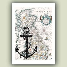 Anchor Print nautical print sailing poster antique by PrintLand, $9.50