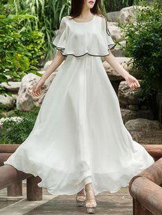 Round Neck Contrast Trim Plain Maxi Dress – Stylishplus Source by eringodbey Stylish Dresses, Cute Dresses, Beautiful Dresses, Casual Dresses, Fashion Dresses, Prom Dresses, Wedding Dresses, Woman Dresses, Fashion Fashion