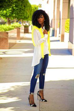 Neon Sweater + Asymmetrical shirt + distressed skinnies  HAWT!!!!!!!!!
