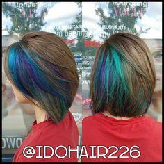 Master Stylist Stephanie Flitton  Peacock color using Pravana Vivids!  HiLites Hair Salon Chesapeake, VA  757.549.HAIR
