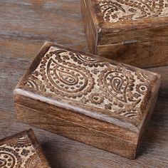 @Overstock.com.com - Set of 3 Paisley Small Storage Boxes (India) - Store your odds and ends in these charming boxes from India. Beautifully handcrafted from mango wood, these lovely boxes come in a set of three.  http://www.overstock.com/Worldstock-Fair-Trade/Set-of-3-Paisley-Small-Storage-Boxes-India/7502378/product.html?CID=214117 $49.99
