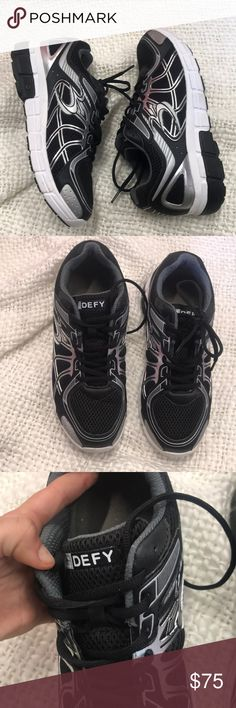 G Defy running shoes GDefy Lightly used in good condition nice find. Black silver and white color combination men's size 9 1/2 Smoke free pet free. Fast shipping. Check out my closet and bundle up for bigger savings G Defy Shoes Sneakers