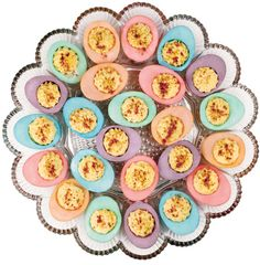 How to make pastel-dyed deviled eggs for Easter.   I might make these for St Patties Day... Just all green