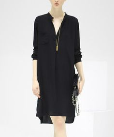 Another great find on #zulily! Black V-Neck Shift Dress #zulilyfinds