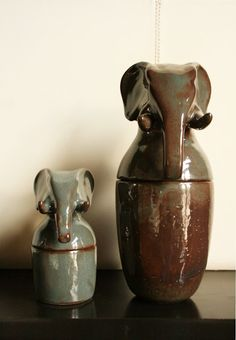 Canopic jars;if i get cremated, my ashes will be in a jar/urn with an elephant on it.