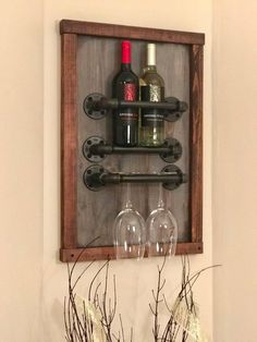 Rustic Wine Rack Made From Recycled Pallet Wood And Industrial Pipe Industrial Shabby Chic Steampunk Hampton Industrial Farmhouse Decor Industrial Farmhouse Decor, Industrial Pipe, Unique Home Decor, Home Decor Items, Wood Pallets, Pallet Wood, Pallet Ideas, Wine Rack Design, Rustic Wine Racks