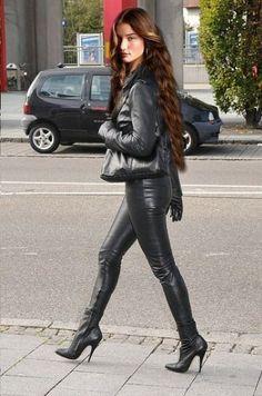 Leather Ladies #highheelbootslatex