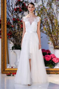 Cocktail Length Summer Wedding Dresses 2017 Detachable Tulle Overskirt Lace Appliques Beaded Bateau Neckline Wedding Gowns Wedding Dresses Aline Wedding Dresses Beautiful From Gonewithwind, $201.01| Dhgate.Com
