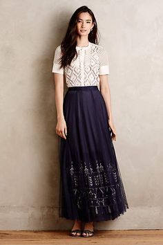 Embroidered Tulle Maxi Skirt - #anthrofave