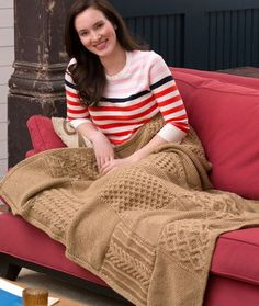 Knit Your Cables Afghan Free Knitting Pattern from Red Heart Yarns