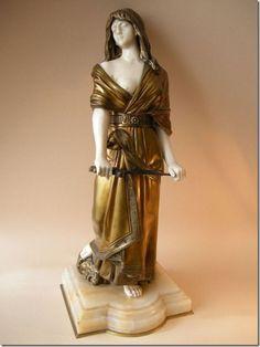 """Judith"" Art Deco Bronze and Ivory Sculpture by Dominique Alonzo, Art Nouveau, Academic Art, Name Art, Art Deco Period, Art Moderne, Beautiful Gifts, Terracotta, Fashion Art, Porcelain"