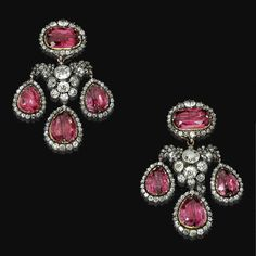 Fine Pair of spinel and diamond pendent ear clips, end of 18th century - Sotheby's