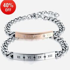 LOULEUR Fashion Roman Numeral Bracelet Couple Love Bracelet Bangles for Women Men Stainless Steel with AAA Zircon Bracelets Black Bracelets, Bracelets For Men, Fashion Bracelets, Bangle Bracelets, Fashion Jewelry, Bangles, Pearl Necklaces, Jewelry Necklaces, Bracelet Couple