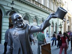 Schöner Náci, who strolled around Bratislava during the communist days in a top hat and suit, greets visitors outside his favorite café, Kaffee Mayer. Danube River Cruise, Bratislava Slovakia, Rick Steves, Seattle Times, Travel Images, Eastern Europe, Pacific Northwest, North West, Superhero