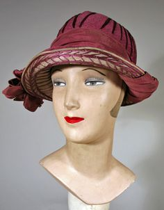 1920s Lavender Straw Cloche with Braid Work and Ribbons.