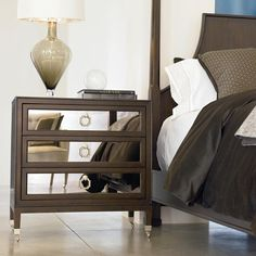 Dalliance Glimmer Nightstand w/ 3 Drawers by Drexel Heritage® - Baer's Furniture - Night Stand Miami, Ft. Lauderdale, Orlando, Sarasota, Naples, Ft. Myers, Florida