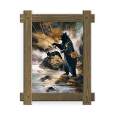 Framed in a rustic-style design, these distressed frames, are the perfect complement to the art they enhance two black bears fly fishing along the creeks edge. Art by Mason Maloof Designs.