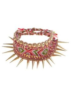 Pink and Gold Aztec Spike Friendship Bracelet