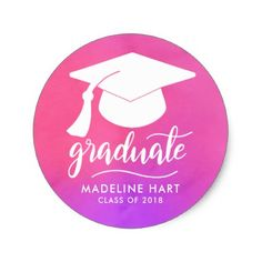 Pink Watercolor | Graduate Typography | Grad Hat Classic Round Sticker - graduation stickers grad sticker idea unique customize diy