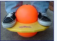 Pogo Balls. Similar in function to a pogo stick, a Pogo Ball resembles the planet Saturn. Basically, it's a ball shaped like a figure eight with an octagonal platform around the middle of it (essentially creating a ball on top and bottom). You stand on the platform squeezing the upper ball with your feet and then jump and bounce around to your hearts content or until you pass out from exhaustion.