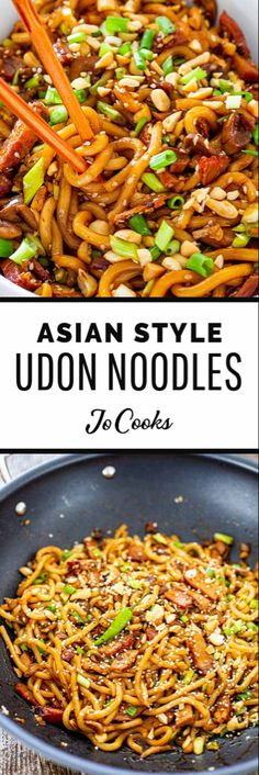 Easy Udon Noodles Recipe, Chicken Udon Noodles, Pork Udon, Asian Noodle Recipes, Asian Recipes, Oriental Recipes, Asian Foods, Sriracha Sauce, Hoisin Sauce