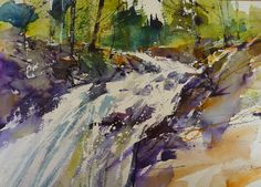 Tumbling Waters – by Artist Chris Forsey Landscape Artwork, Watercolor Landscape, Watercolour Painting, Watercolours, Ocean Scenes, Oil Painters, Painting Gallery, Artsy Fartsy, Photo Art