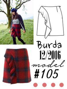 Spódnica z falbaną uszyta z wykroju Burda 12/2016 Burda Patterns, Winter Solstice, Sewing, Model, Blog, Dressmaking, Couture, Stitching, Costura